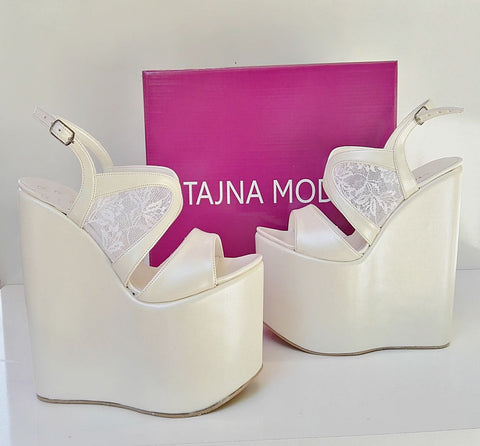 Wedding Sandals Lace Wedge Heel White Platform High Heels Shoes - Tajna Club