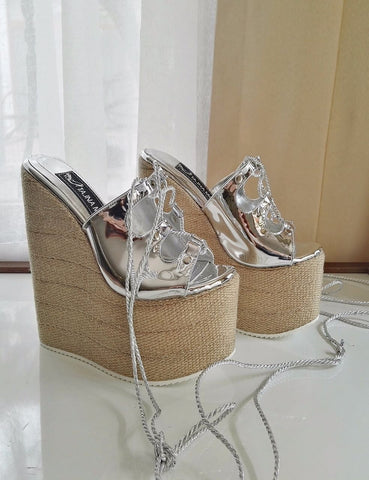 Lace up Silver Sandals Wicker Wedge Heel White Platform High Heels Shoes - Tajna Club