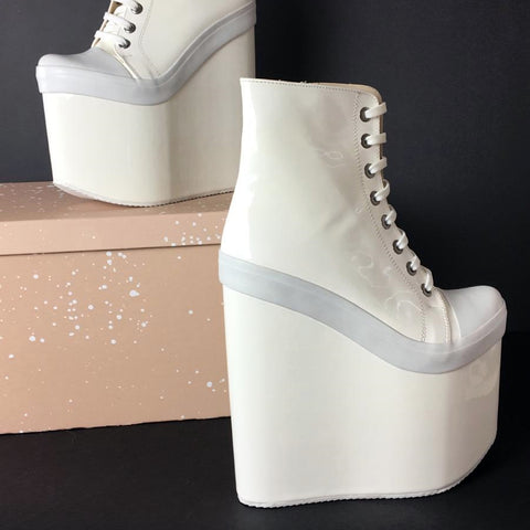 Stylish White Lace Up Ankle Wedge Booties - Tajna Club