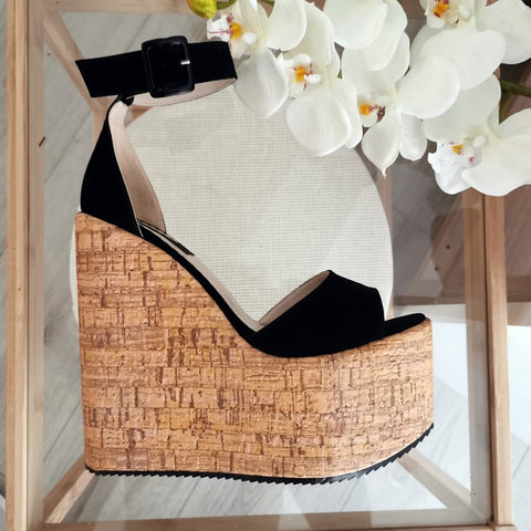 Black Ankle Strap Platform Sandals - Tajna Club
