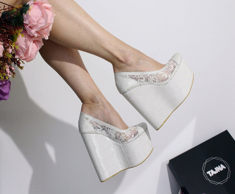 Lace High Heel Platform Wedding Wedges - Tajna Club
