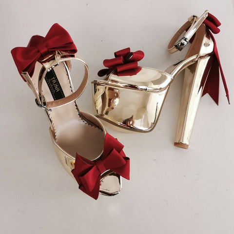 Gold Mirror Ribbon Detail Chunky Heels - Tajna Club