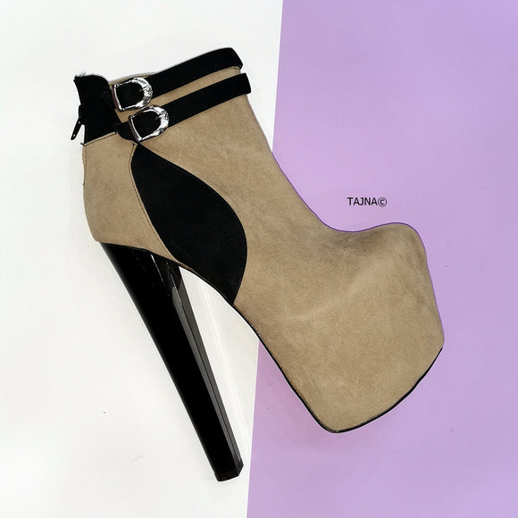 Beige Black Suede Double Belted Booties - Tajna Club