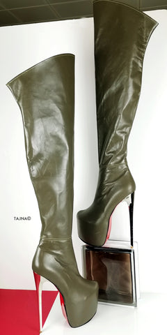 Genuine Leather Army Green Thigh High Boots - Tajna Club