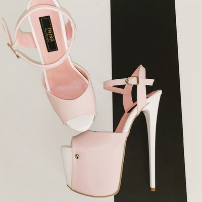 Baby Pink White Platform Sandals - Tajna Club