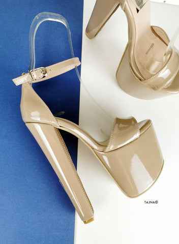 Beige Nude Glossy High Heel Sandals - Tajna Club