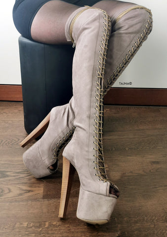 Beige Suede Gladiator Lace Up Thigh