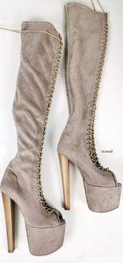 Beige Suede Gladiator Lace Up Thigh High Boots - Tajna Club