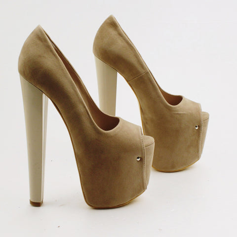 Beige Faux Suede Peep Toe High Platform Shoes - Tajna Club