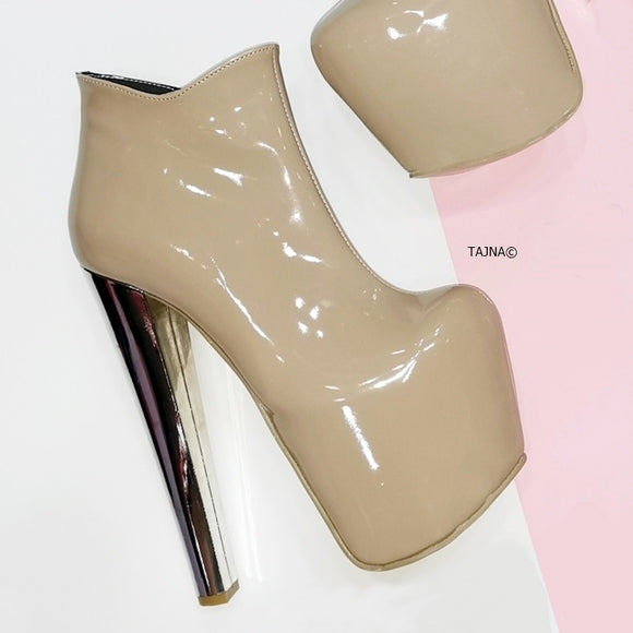 Nude Beige Patent Ankle Booties - Tajna Club