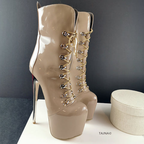 Beige Patent Military Lace Up Ankle Boots - Tajna Club