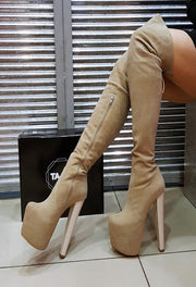 Beige Suede Knee High Boots - Tajna Club