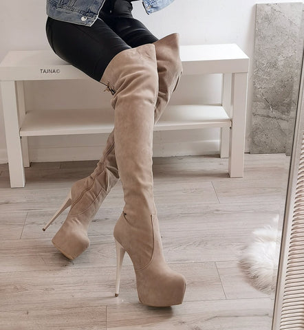 Beige Suede High Heel Over the Knee Boots - Tajna Club