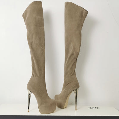 Beige Suede Long Knee High Boots - Tajna Club