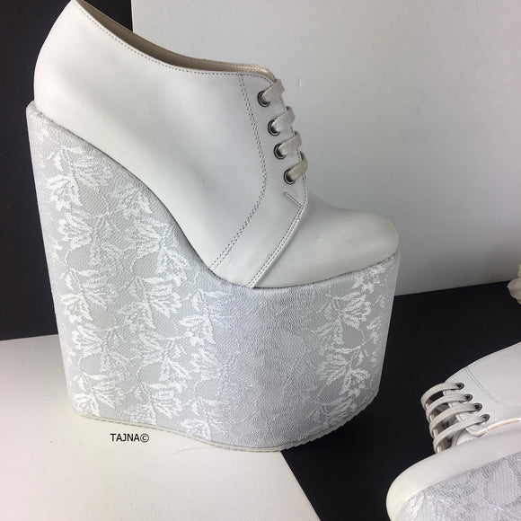 White Lace Up High Heel Wedges - Tajna Club