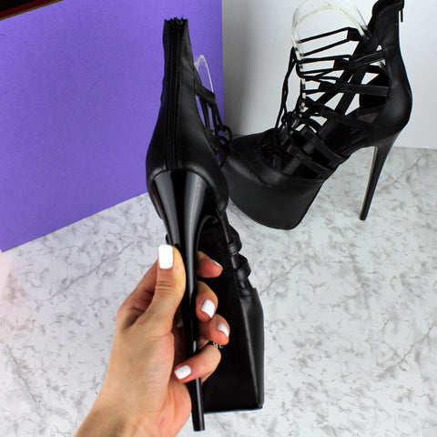 Black Matte Bondage Side Lace Heels - Tajna Club