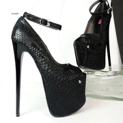 Black Croco Ankle Strap Peep Toe Heels - Tajna Club