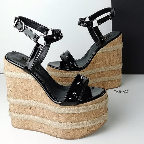 Black Gloss Studs Cork Wedge Sandals - Tajna Club