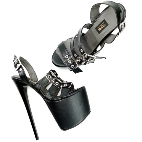 Black Matte Triple Belted High Heel Sandals - Tajna Club