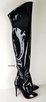 Black Gloss High Heel Pointy Toe Long Boots - Tajna Club