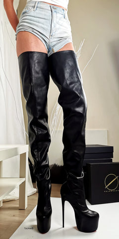 Thigh High Black Genuine Leather Boots - Tajna Club