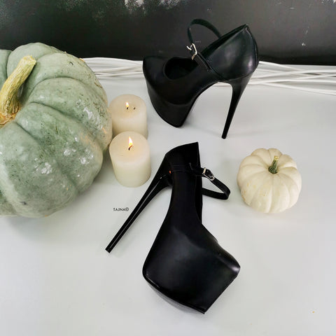 Mary Jane Black Pencil High Heels - Tajna Club