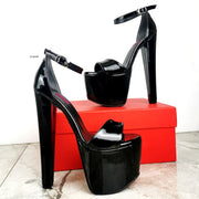 Black Patent Chunky High Heel Sandals - Tajna Club