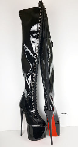 Black Patent Gladiator Lace Up Thigh High Boots - Tajna Club