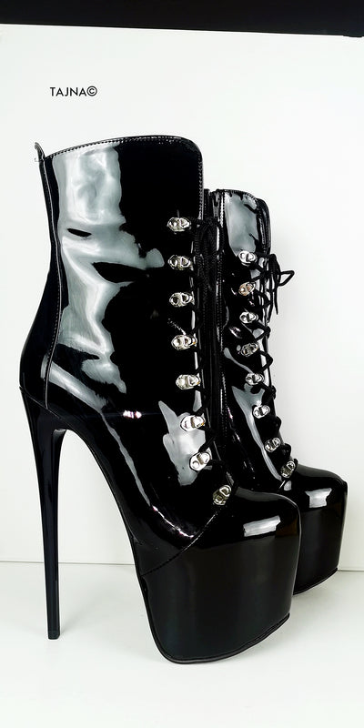 Black Patent Military Style Lace Up Boots - Tajna Club