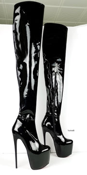 Black Patent 100 cm Extreme Ultra High Thigh Boots - Tajna Club