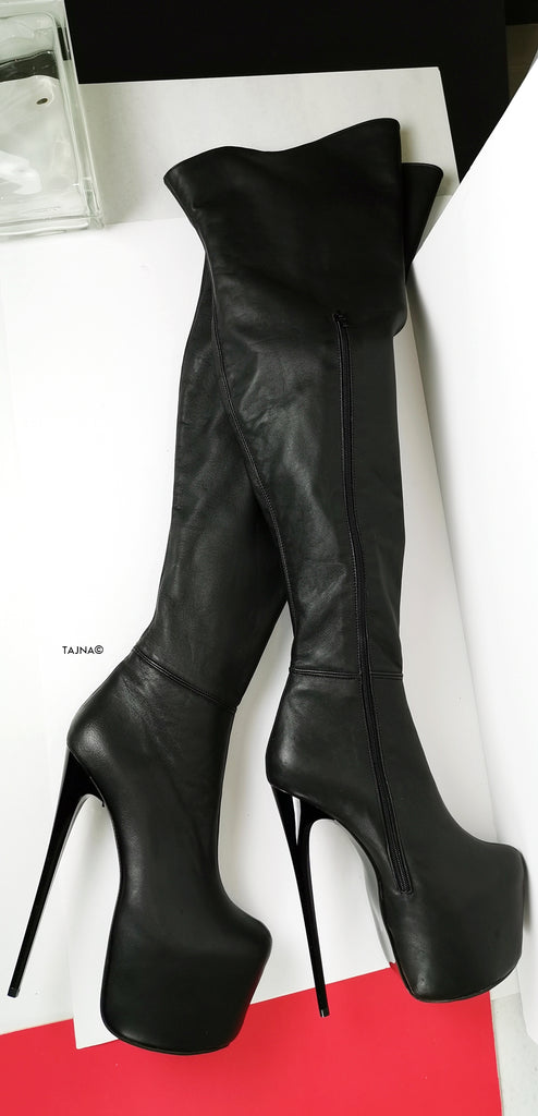 Genuine Leather Black Thigh High Boots