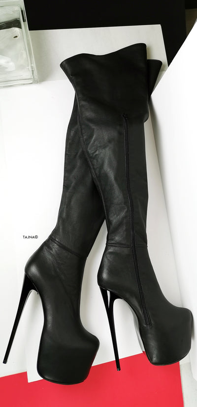 Genuine Leather Black Thigh High Boots - Tajna Club