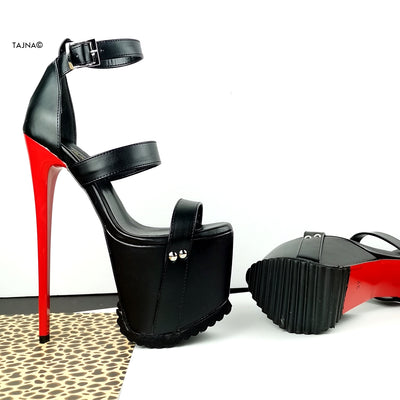 Red Black Serrated Sole Triple Strap Heels - Tajna Club