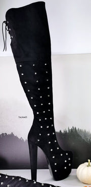 Black Suede Spike Studded Long Boots - Tajna Club