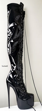 Black Glossy Lace Up Thigh High Boots - Tajna Club