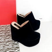 Black Suede Platform Sabo Wedge Mules - Tajna Club