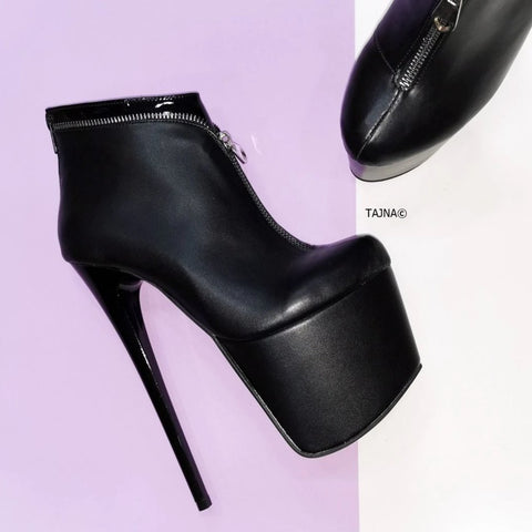 Black Zipper Detail Ankle Boots - Tajna Club
