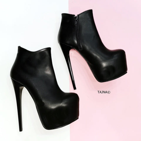 Black Matte Ankle Heeled Booties - Tajna Club