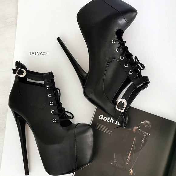 Black Lace Up Platform Ankle Booties - Tajna Club