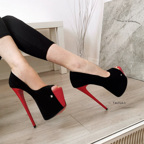 Red Black Suede Peep Toe Pumps - Tajna Club