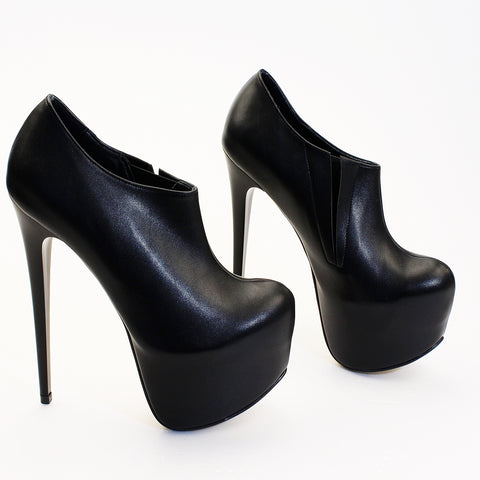 Ankle Black High Heel Booties - Tajna Club