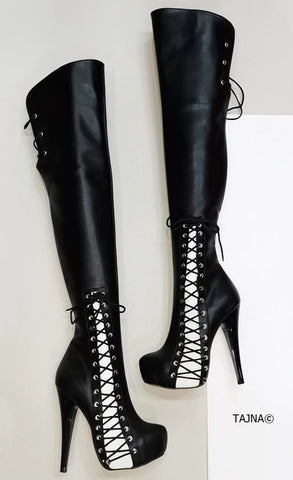 Black White Knee High Corset Boots - Tajna Club