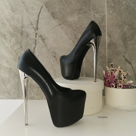 Metallic Heel Black Hidden Platform - Tajna Club
