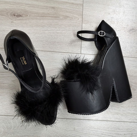 Black Fury High Heel Wedges - Tajna Club