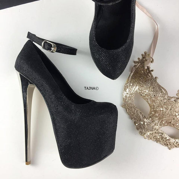 Black Shimmer Ankle Strap Platforms - Tajna Club