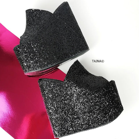 Black Glitter Peep Toe Platform Wedge Mules - Tajna Club