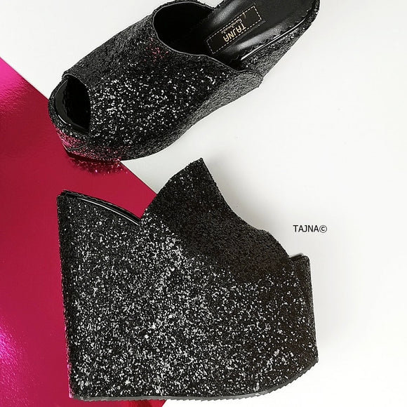 black glitter, high heel wedge mules, extreme platform shoes, tajna club