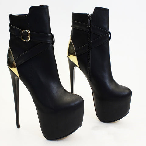 Black Gold High Heel Boots - Tajna Club