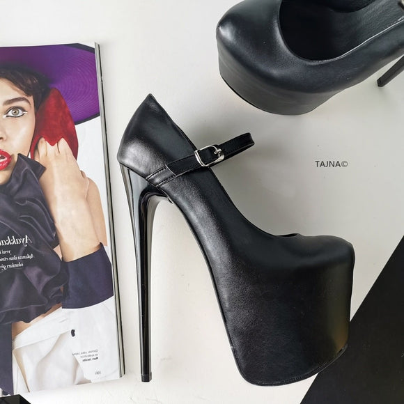 Black Mary Jane Hidden Platform Pumps - Tajna Club