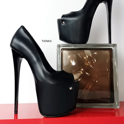 Peep Toe Black Thin Heel Pumps - Tajna Club
